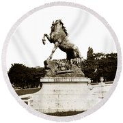 Round Beach Towel featuring the photograph Horse Sculpture Trocadero  Paris France 1900 Historical Photos by California Views Mr Pat Hathaway Archives