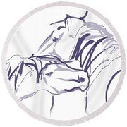 Horse - Together 10 Round Beach Towel