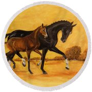 Horse - Together 2 Round Beach Towel