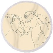 Horse - Together 3 Round Beach Towel