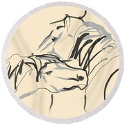 Horse - Together 4 Round Beach Towel