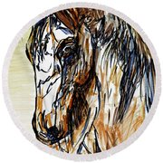 Horse Twins II Round Beach Towel