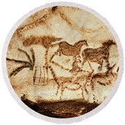 Horses And Deer From The Caves At Altamira, 15000 Bc Cave Painting Round Beach Towel