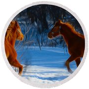 Horses At Play Round Beach Towel