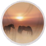 Horses In A Misty Dawn Round Beach Towel
