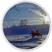 Horses In Snow Round Beach Towel by Greg Reed