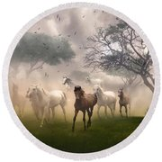 Horses In The Mist Round Beach Towel