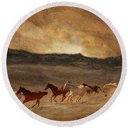 Horses Of Stone Round Beach Towel