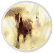 Horses Of The Mist Round Beach Towel