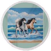 Horses On A Beach Round Beach Towel