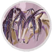 horses Purple pair Round Beach Towel