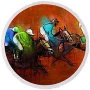 Horses Racing 01 Round Beach Towel