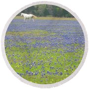 Horses Running In Field Of Bluebonnets Round Beach Towel by Connie Fox