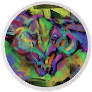 Horses Together In Colour Round Beach Towel