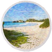 Round Beach Towel featuring the photograph Horseshoe Bay In Bermuda by Verena Matthew