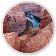 Round Beach Towel featuring the photograph Horseshoe Bend At Dawn by Mae Wertz