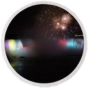 Horseshoe Falls With Fireworks Round Beach Towel