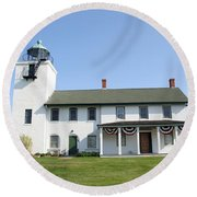 Round Beach Towel featuring the photograph Horton's Point  by Karen Silvestri