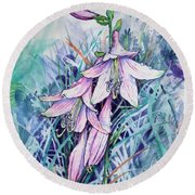 Hosta's In Bloom Round Beach Towel