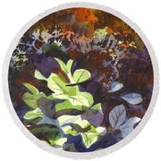 Round Beach Towel featuring the painting Hostas In The Forest by Kip DeVore