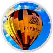 Hot Air Ballon Farmer's Insurance Round Beach Towel by Robert Bales