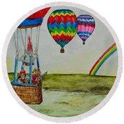 Hot Air Balloon Rainbow Round Beach Towel
