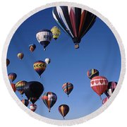 Hot Air Balloons Floating In Sky Round Beach Towel