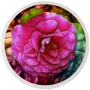 Hot And Silky Pink Rose Round Beach Towel by Lilia D
