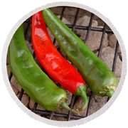Hot And Spicy - Chiles On The Grill Round Beach Towel