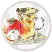 Hot Apple Cider Round Beach Towel