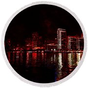 Hot City Night Round Beach Towel