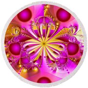 Hot Orchid Round Beach Towel