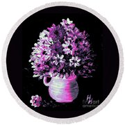 Hot Pink Flowers Round Beach Towel