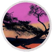 Round Beach Towel featuring the drawing Hot Pink Sunset by D Hackett