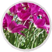 Round Beach Towel featuring the photograph Hot Pink Tulips 2 by Allen Beatty