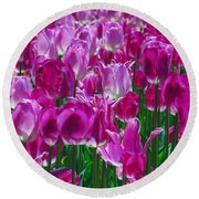 Hot Pink Tulips 3 Round Beach Towel by Allen Beatty