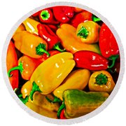 Hot Red Peppers Round Beach Towel