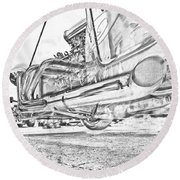 Hot Rod Exhausting Round Beach Towel