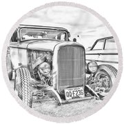 Hot Rod Faux Sketch Round Beach Towel