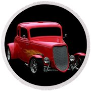 Vehicles Round Beach Towel featuring the photograph Hot Rod Red by Aaron Berg