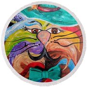 Round Beach Towel featuring the painting Hot Stuff - One Cool Cat   by Eloise Schneider