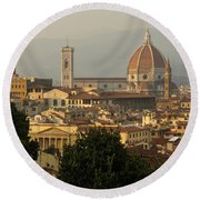 Hot Summer Afternoon In Florence Italy Round Beach Towel