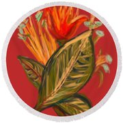 Round Beach Towel featuring the digital art Hot Tulip R by Christine Fournier