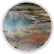 Round Beach Towel featuring the photograph Hot Water At Yellowstone by Laurel Powell