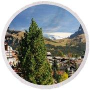 Hotel Alpenruh With Mt Eiger Round Beach Towel