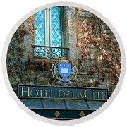 Hotel De La Cite Round Beach Towel by France  Art