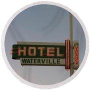 Hotel Waterville Neon Sign Round Beach Towel