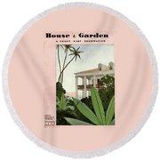 House & Garden Cover Illustration Round Beach Towel