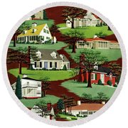 House & Garden Cover Illustration Of 9 Houses Round Beach Towel