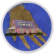House & Garden Cover Illustration Of A Giant Hand Round Beach Towel